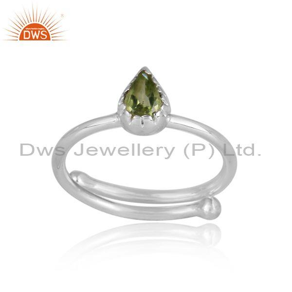 Pear shaped peridot set fine 925 sterling silver casual ring