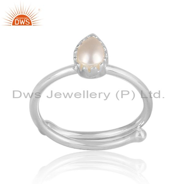 Pear Shaped Pearl Set Fine 925 Sterling Silver Casual Ring