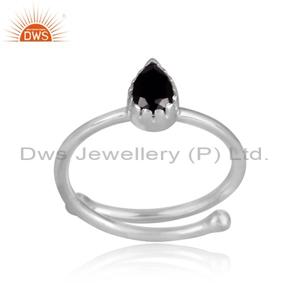 Pear shaped black spinal set fine 925 silver casual ring