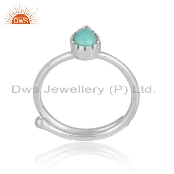 Pear shaped arizona turquoise set fine silver casual ring
