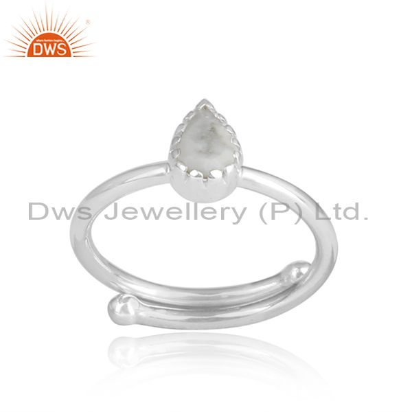 Howlite Cut Pear Shaped Design Sterling Silver Ring
