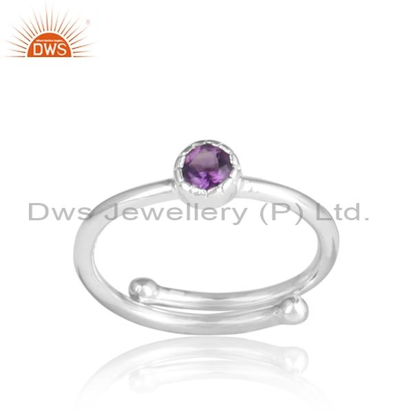 Round Amethyst Set Sterling Silver Oxidized Ring
