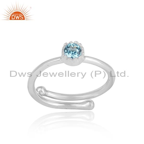 Round Blue Topaz Sterling Silver White Adjustable Ring