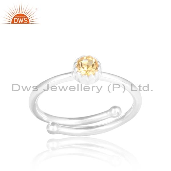 CITRINE round CUT sterling silver white adjustable ring
