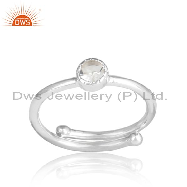 Round crystal quartz sterling silver white ring
