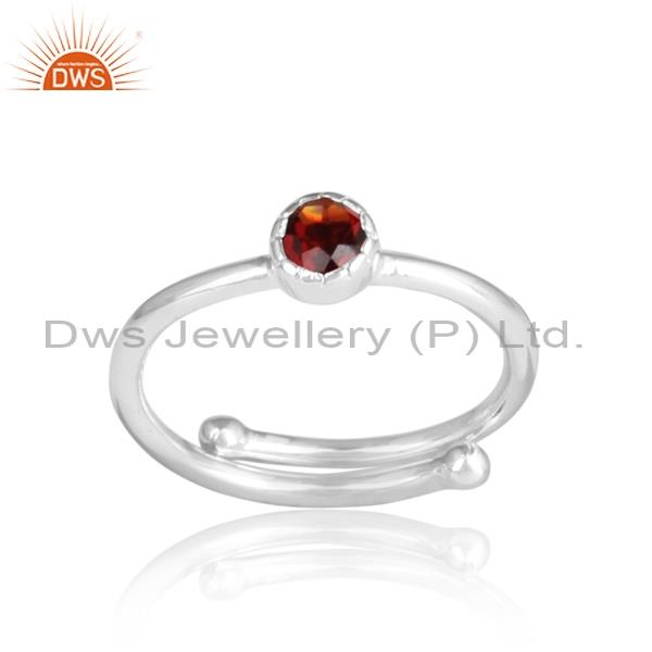 Garnet Set Sterling Silver White Adjustable Ring