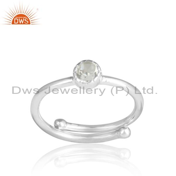 Green amethyst round cut adjustable silver ring