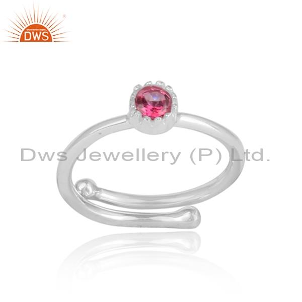 PINK TOPAZ Sterling silver white adjustable ring