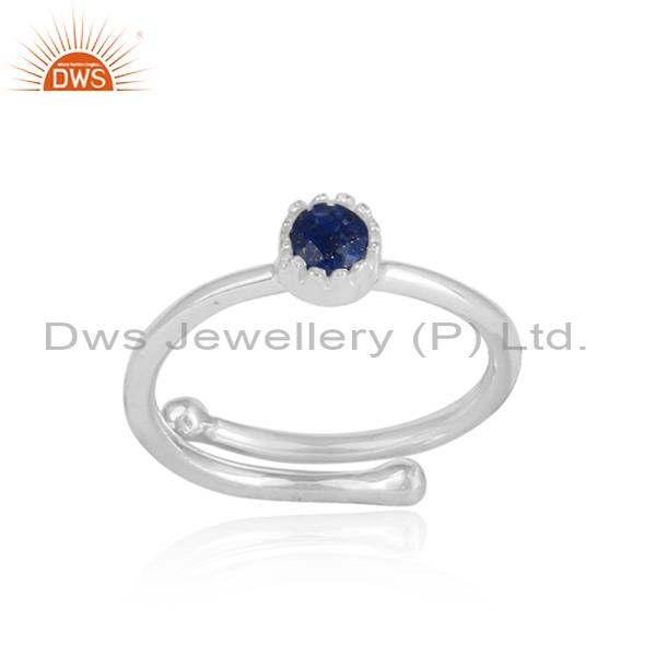 Lapis Set In White Sterling Silver Ring