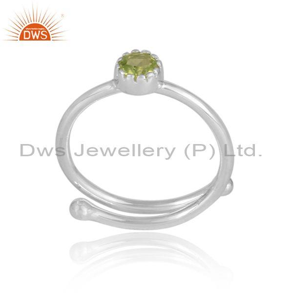 Round cut peridot set fine 925 sterling silver designer ring