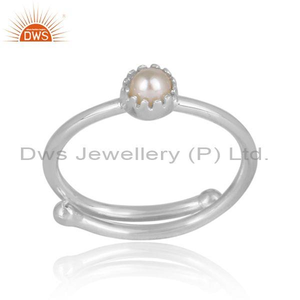 Round cut pearl set fine silver designer crown shaped ring