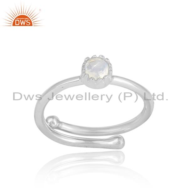 Rainbow moonstone set in crown shaped 925 silver ring