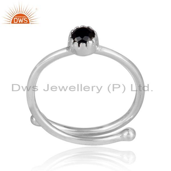 Round Cut Black Spinal Set Fine 925 Silver Crown Shaped Ring