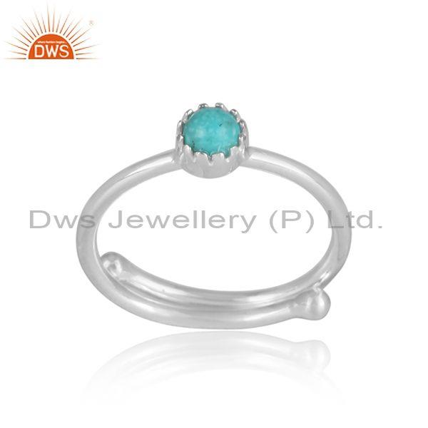 Round cut arizona turquoise set sterling silver crown ring