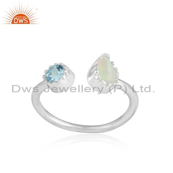 Blue Topaz And Ethiopian Opal White Silver Facing Ring