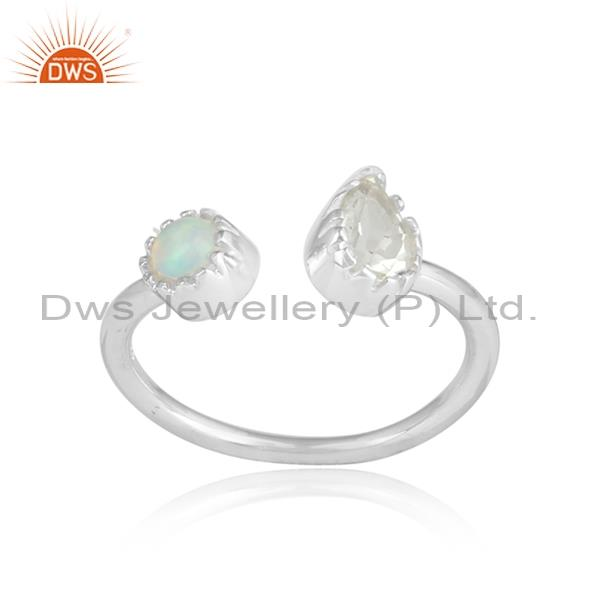 GREEN AMETHYST and pear cabushion two stones silver ring