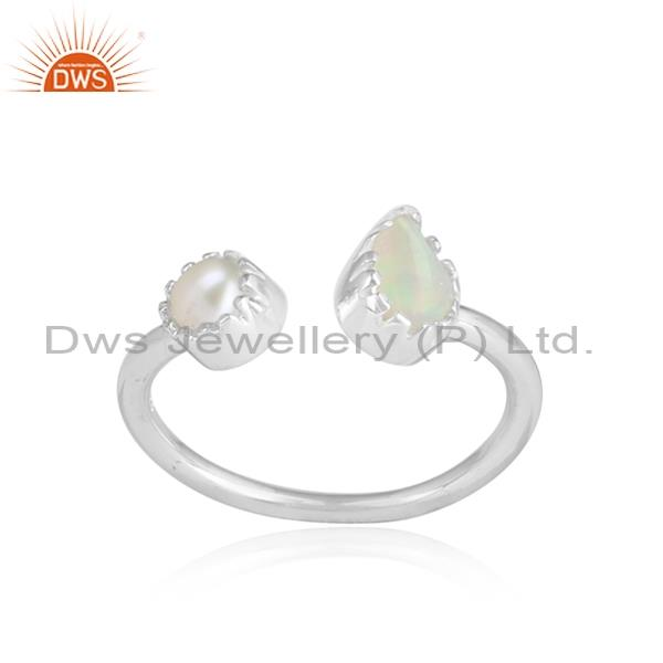 Ethiopian opal and pearl cabushion sterling silver white ring