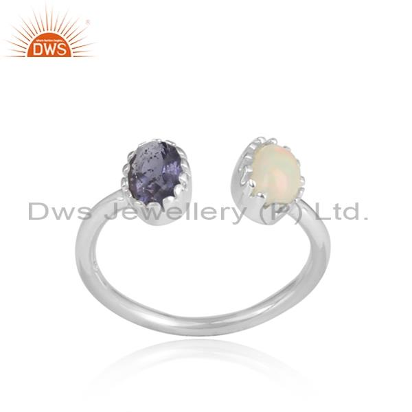 Ethiopian opal and iolite set white silver facing ring