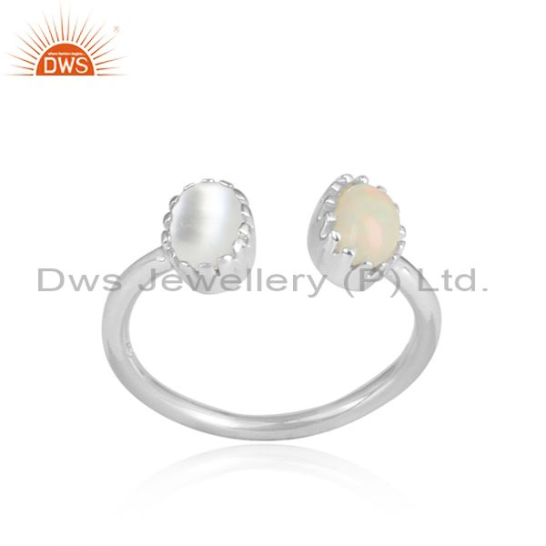Ethiopian Opal And Pearl White Sterling Silver Facing Ring