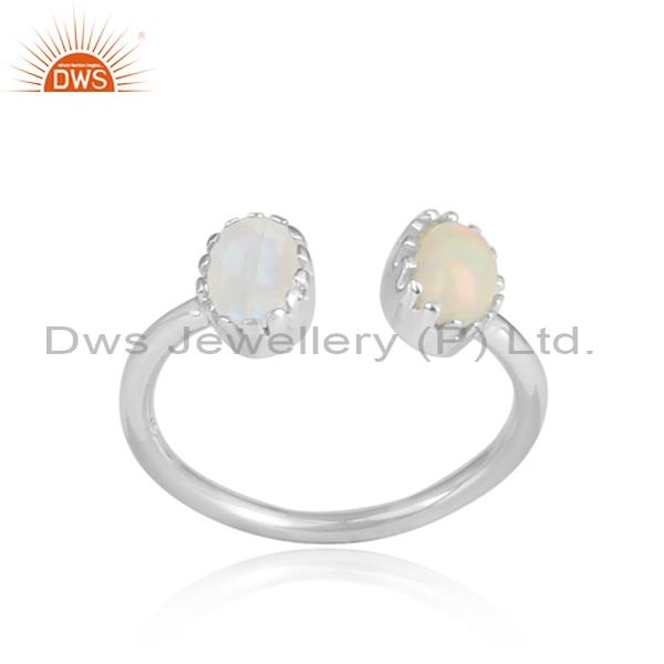 Ethiopian Opal And Rainbow Moonstone Set Silver Ring