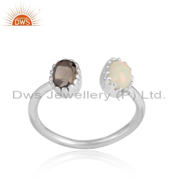 Ethiopian Opal And Smoky White Sterling Silver Facing Ring