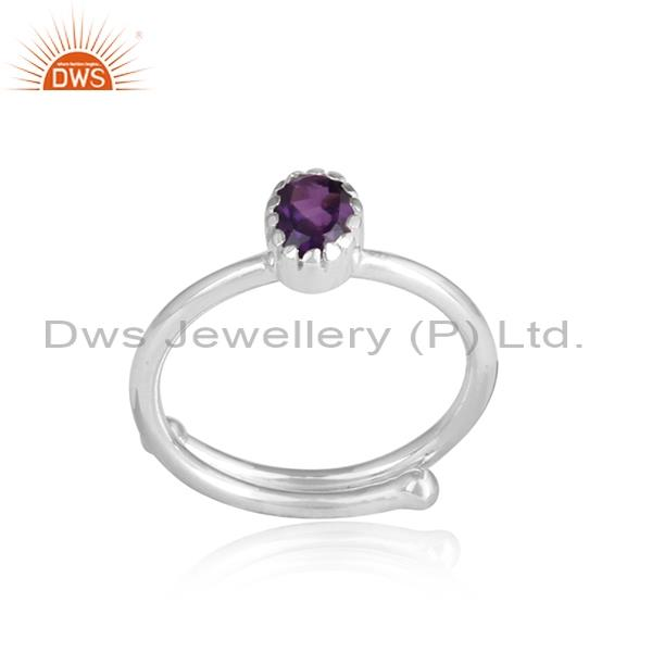 Amethyst Set White Sterling Silver Crown Ring