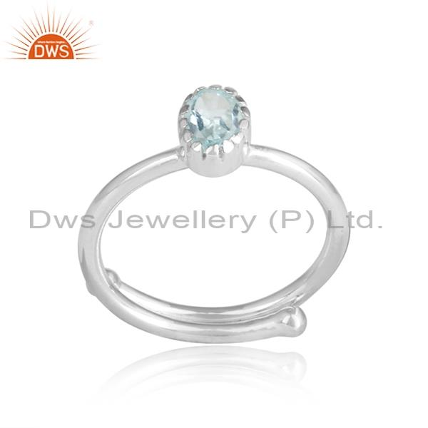BLUE TOPAZ CUT sterling silver white adjustable ring
