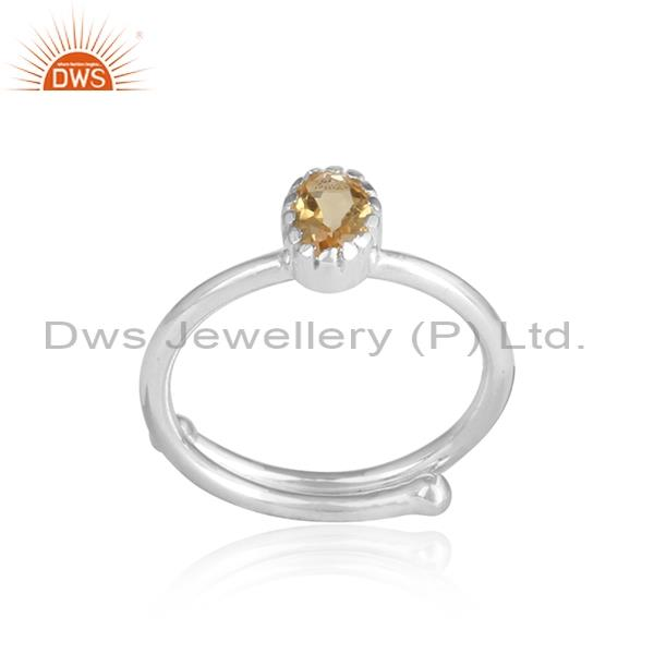 CITRINE set sterling silver white ring for all sizes