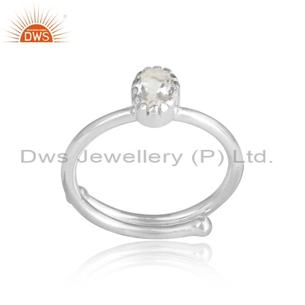 Round cut CRYSTAL QUARTZ sterling silver white ring