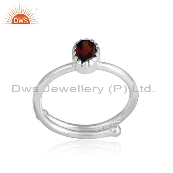 Red GARNET set sterling silver round cut ring