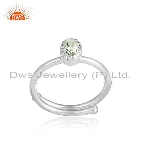 Green Amethyst White Silver Adjustable Ring