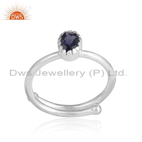 Pear shaped IOLITE CUT silver adjustable ring