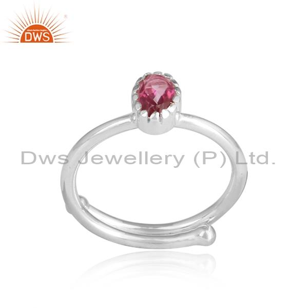 PINK TOPAZ pear shaped cut sterling silver white ring