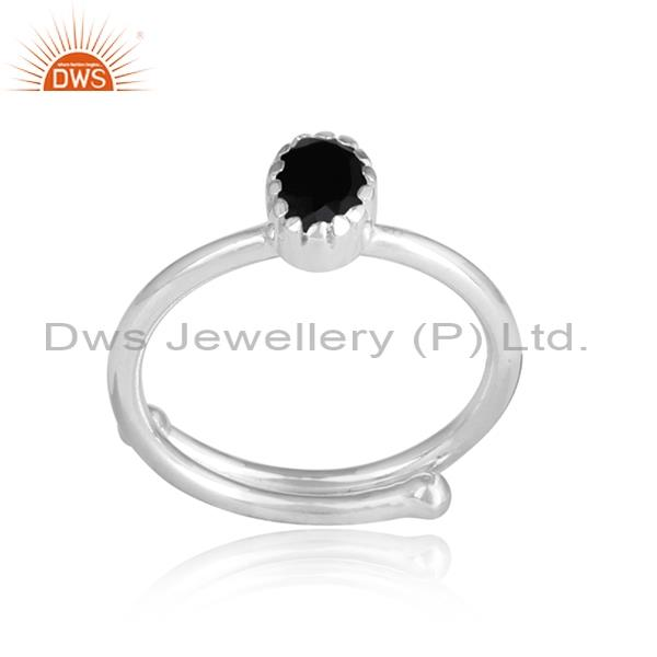 BLACK ONYX CUT sterling silver ring for all sizes