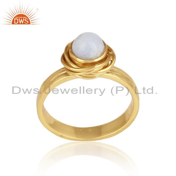 Blue lace agate cabushion wrapped silver gold plated ring