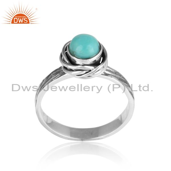 Radiant arizona turquoise set 925 oxidized silver ring