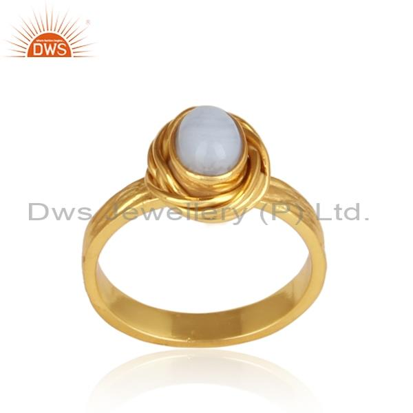 Simple Blue Lace Agate Set In Gold Plated 925 Silver Ring