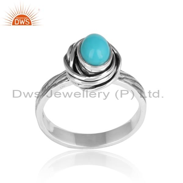 Bold Arizona Turquoise Set 925 Oxidized Silver Ring
