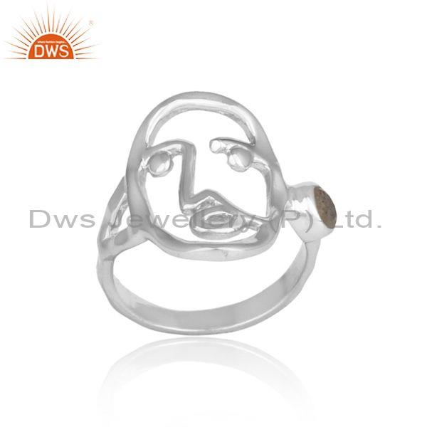 Labradorite Set Fine 925 Sterling Silver Abstract Face Ring