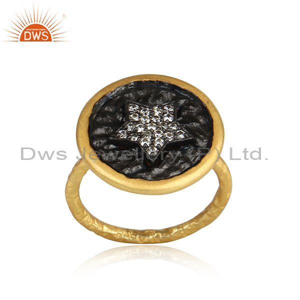 Round Star Design Rhodium and Gold On Silver CZ Ring