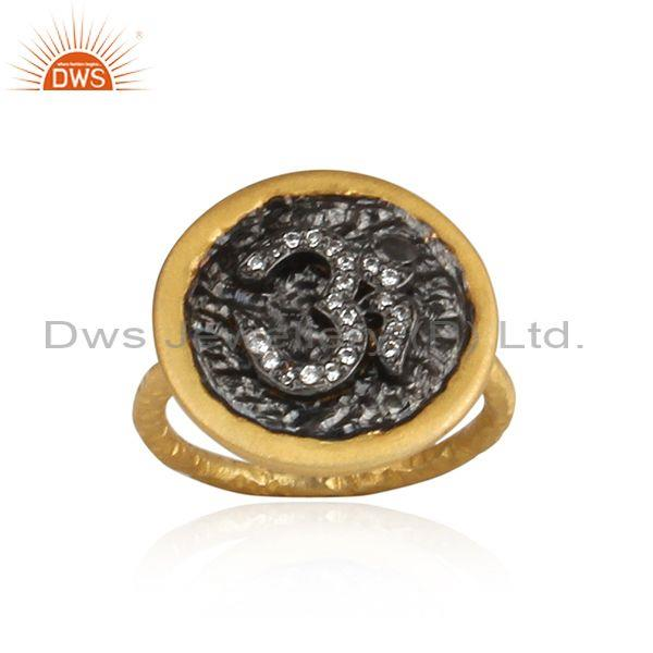 "Cubic Zirconia ""Om""  Sign 925 Silver Gold Plated Ring"