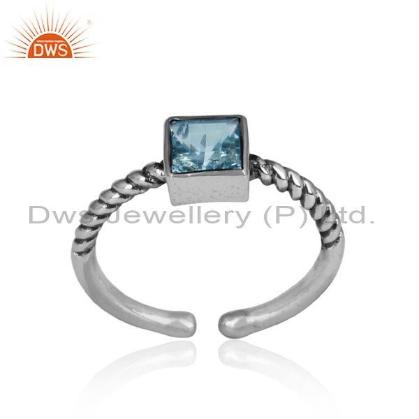 Blue Topaz Square Cut Oxidized Sterling Silver Adjustable Ring