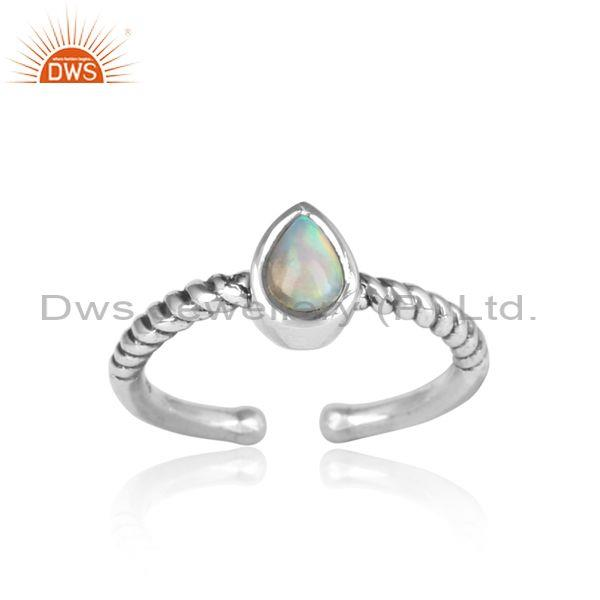 Tear Drop Ethiopian Opal Handmade Oxidized Silver Twist Ring