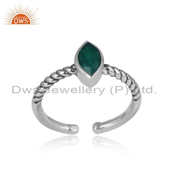 Green Onyx Oval Cut Oxidized Adjustable Sterling Silver Ring