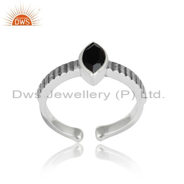 Black Onyx Oval Cut Oxidized Adjustable Sterling Silver Ring