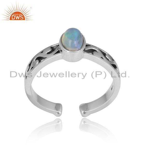 Ethiopian Opal Cabushion Silver Oxidized Adjustable Ring