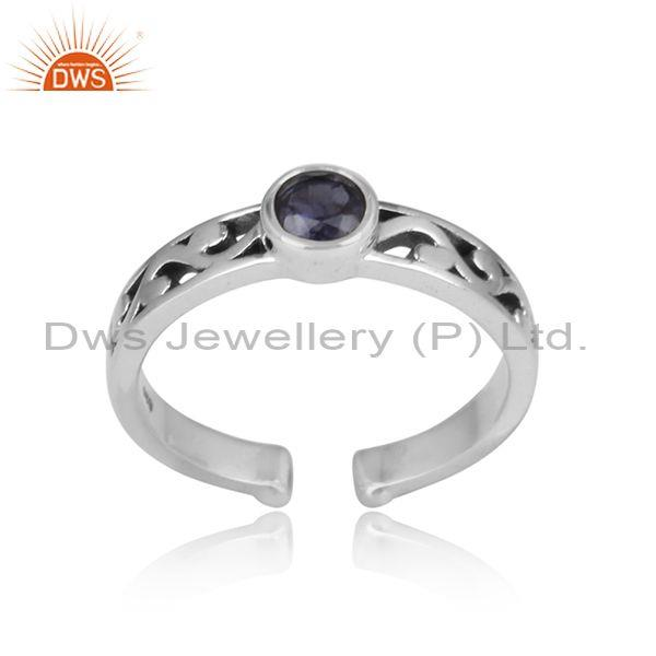 Iolite Round Cut Oxidized Adjustable Sterling Silver Ring