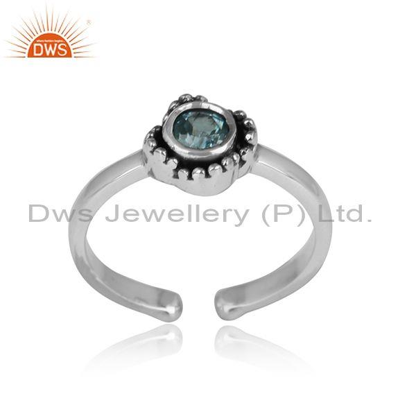 Blue topaz set oxidized adjustable sterling silver ring