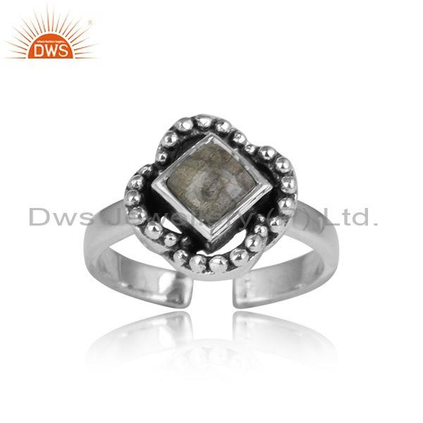 Labradorite Gemstone Square Cut Sterling Oxidized Ring