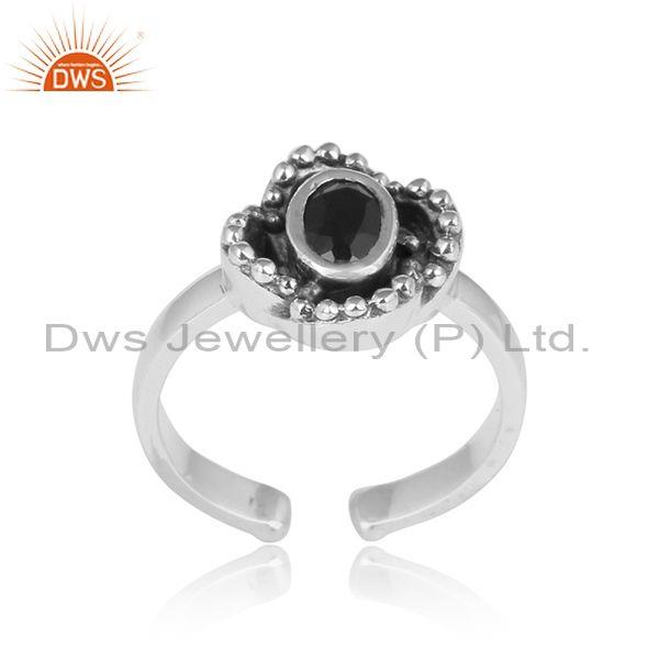 Black Onyx Set In Floral Oxidized Sterling Silver Ring